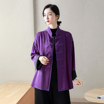 Handsome crack! Chinese style is full of heavy silk silk silk long-sleeved top womens fashion jacket