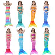 The new children's clothing swimsuit Mermaid tail set COS with fins Mermaid swimsuit Girls Gift