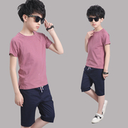 The boy summer suit 2017 new summer clothes 7 children 9 children 11 boys under the age of 13 tide two sets