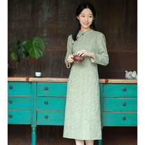 17qdc-126 (aromatic chrysanthemum leisurely) autumn dress new style of gentle Chinese style stand-by oblique lapel modified cheongsam
