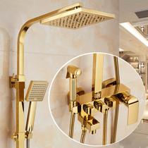Европейский медный термостатический золотой ливневый душ комплект для душа в ванной комнате душ душевая кабина душевая кабина