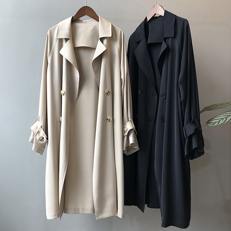 windbreaker female medium long small 2021 spring and autumn new item French temperament large British wind drooping thin jacket