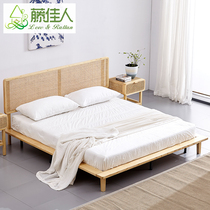 Fujiya Shimu 牀 1.8 牀 doubles hotel guest house furniture simple Japanese vine art牀 Nordic vine 牀