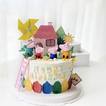 Birthday cake children cute piglet family of four holding dinosaur net red cartoon soft pottery pig daddy cake plug-in.