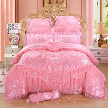 Four sets of big red cotton embroidery wedding bedding, 680 sets of pure cotton lace bedding