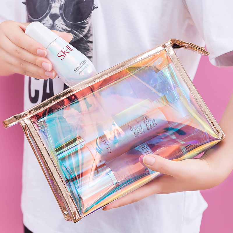 Net red bright color laser transparent makeup bag female carry-on skin care products to collect waterproof travel travel washing bag