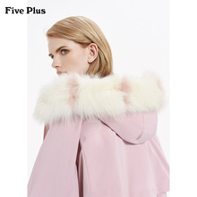 Five Plus 2019 New Winter Female Dress Fox Fur Neck Down Dress Goose Down Medium-length Coat with Long Sleeves