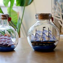 Бутылка лодка модель украшения парусник деревянные ремесла маленький черный жемчуг номер крытый винный шкаф украшения хрустальный шар