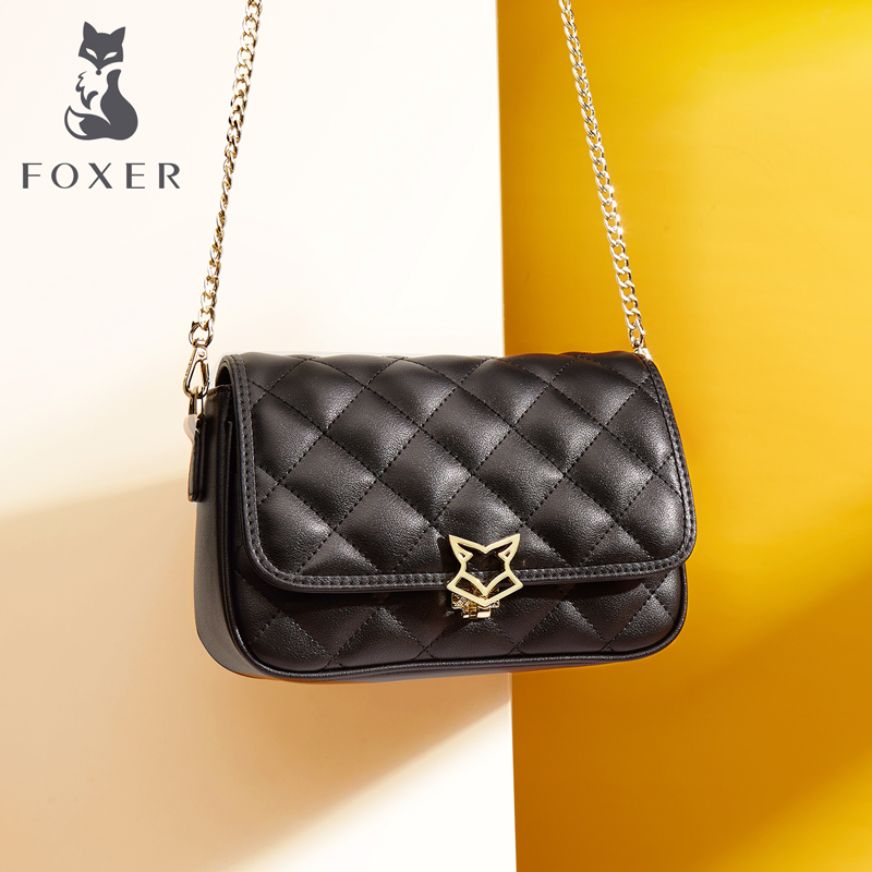 Golden Fox female bag chain bag leather rhombic bag shoulder Messenger bag fashion wild 2018 new small square bag
