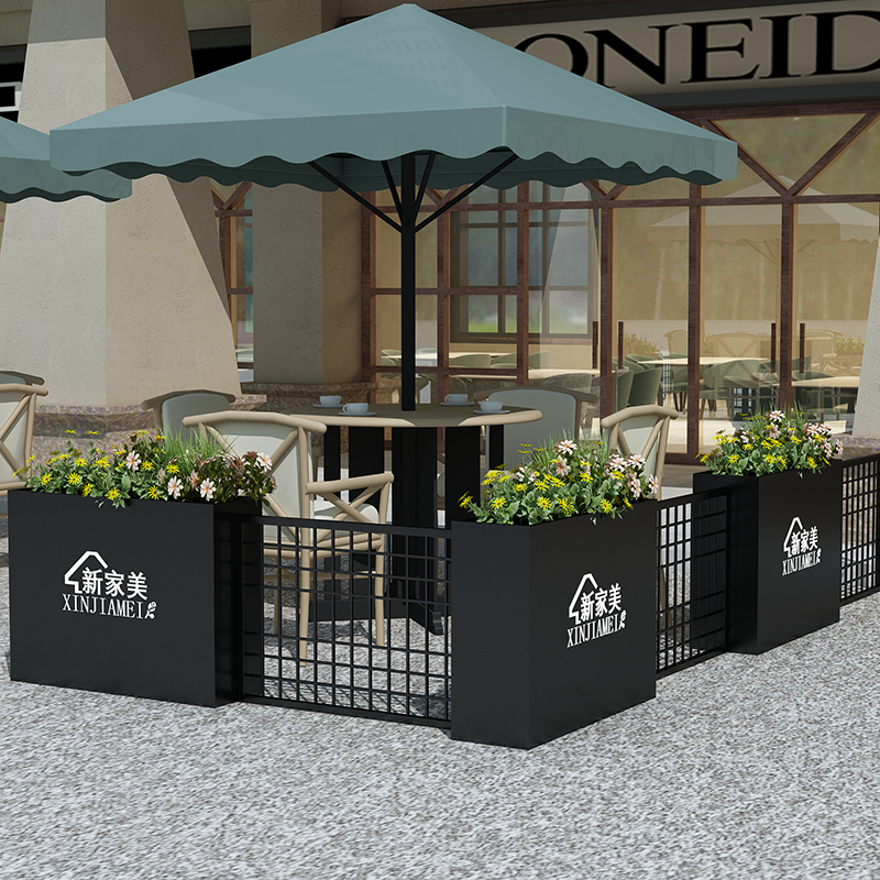Outdoor fence iron garden cut off green flower beds outdoor planting flower box coffee shop grid fence fence