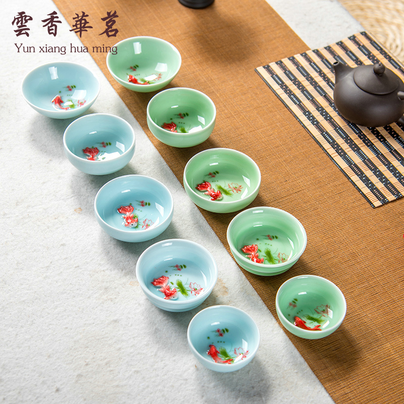 Ceramic tea set Longquan Qing porcelain tasting cup lotus carp tea bowl small tea cup cup hand-painted hand-painted single cup