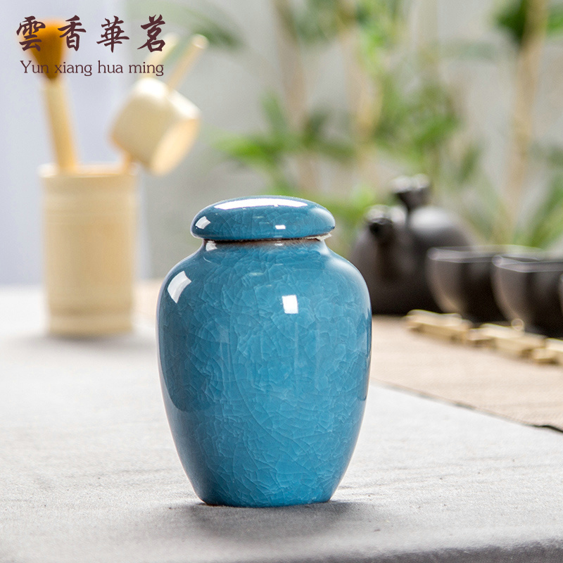 Tea cans Tea cans Ice cracking ceramic tea box Tieguanyin ceramic cans tin cans tea packaging sealing cans