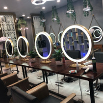 Hairdressing Shop Barber Hair salon Beauty Makeup mirror double-sided with lamp round mirror led dressing mirror ins luminescent mirror