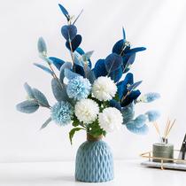 地中海风仿真花束客厅摆设防真餐桌花摆假花装饰轻奢陶瓷花瓶摆件