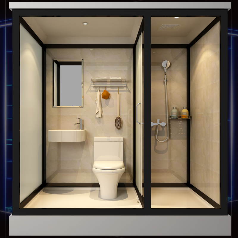 The overall shower room all-in-one powder room 溼 separate bathroom room with a simple bath room integrated bathroom