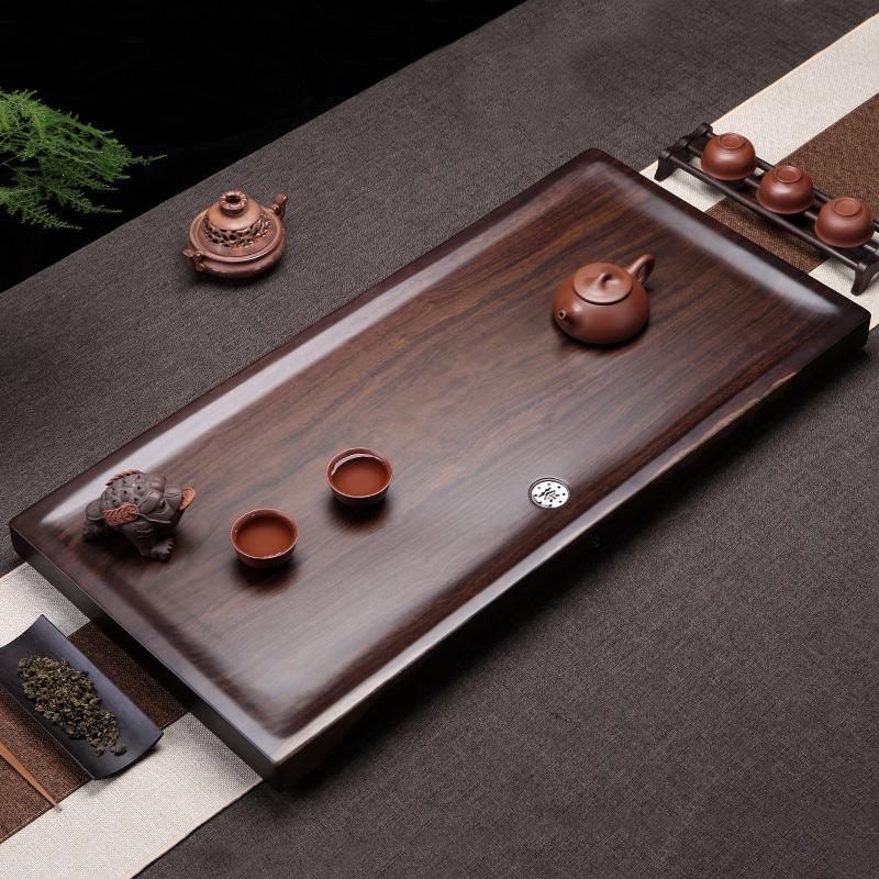 Gather ebony tea plate whole piece of solid wood kung fu tea set home tea table small simple tea sea meditation