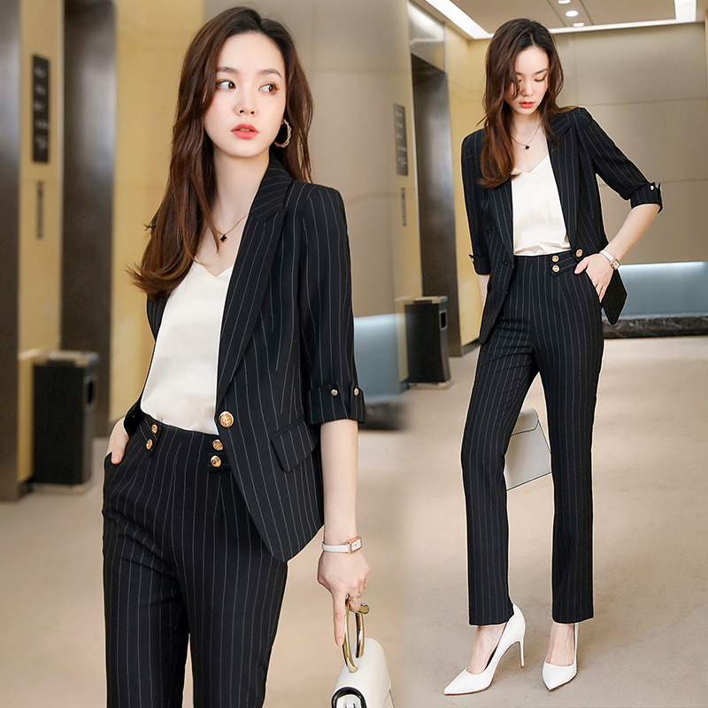 High-end summer professional clothing temperament goddess fan sleeve suit suit Female striped dress overalls Summer pants