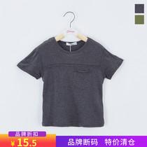 110 140 品牌折扣乐木*男童夏上衣灰色简约弹力短袖T恤断码特价