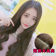 Net red wig female long curly hair big wave, round face in bangs, realistic natural long straight hair, all hair style