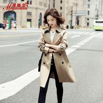 Windbreaker womens long small 2021 autumn new womens clothing British style autumn popular coat coat tide