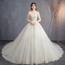 Tone together wedding dress 20192020 new bride married Sen department was thin bandeau long trailing Star Girl