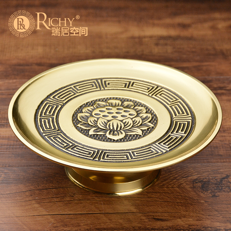 Lotus Pure Copper Fruit Plate for Buddha's Household Supplies Fruit Plate for Buddha's Household Supplies