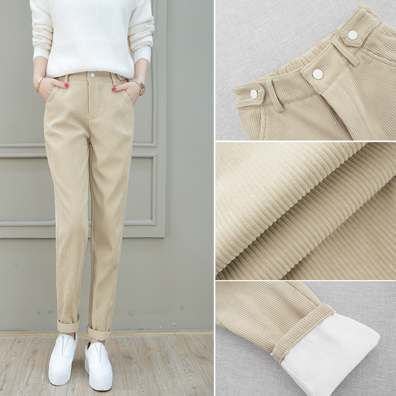 High-waisted wicked velvet pants womens loose 2020 autumn winter new plush casual 100-蔔 pants tide