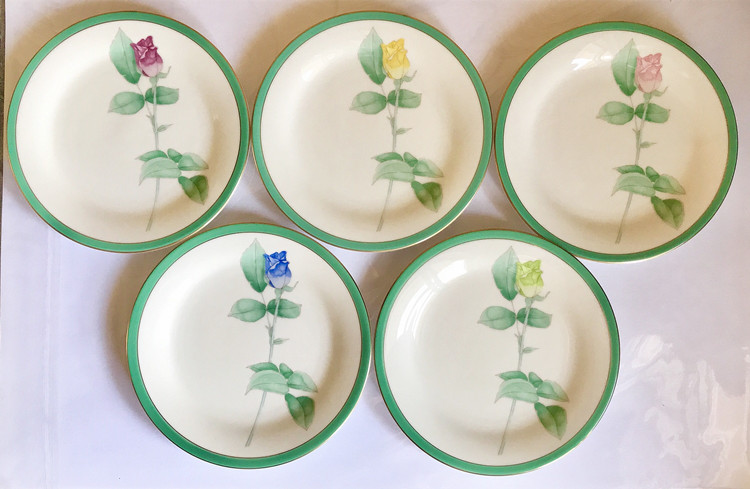 [Secondhand products]Japan Zhimai Vanilla Club Yamada Five-color Rose Plate Small Butterfly Ceramic Tableware 59