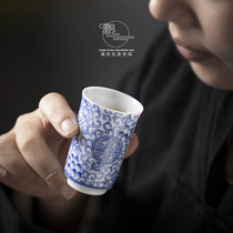 Jingdezhen handmade blue and white porcelain smell incense Cup hand-painted wrapped sticks longevity tea cup ceramic Kung Fu Tea Master Cup single cup