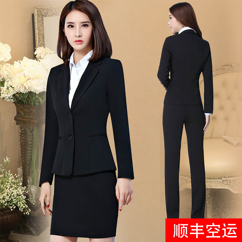 Spring and autumn college students interview professional dress fashion suit suit temperament coat Formal womens suit High-end work clothes