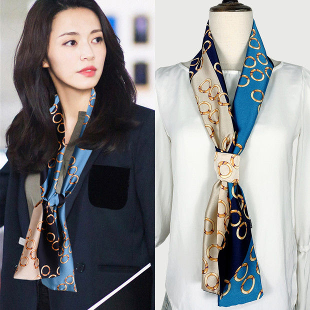 Silk scarf small strip star with the same thirty-only summer fashion hundred wave point thin narrow scarf scarf scarf scarf