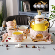 Ceramic afternoon tea flower fruit teacberry tea set home flower teapot set fruit jug with filter candle heating