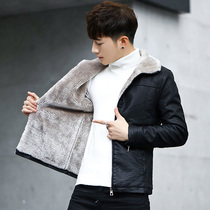 Fur all-in-one jacket male winter lamb hair tide leather mens leather plus plus thick leather youth handsome jacket