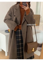 2021 autumn and winter new classic double-breasted full wool coat medium and long double-sided handmade cashmere coat for women