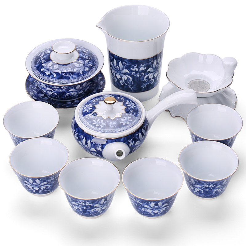 Zhongzheng Ceramic Kung Fu Teaware Set Household Blue and White Porcelain Teaware Gift Box, Teapot, Teacup and Cover Washing Bowl