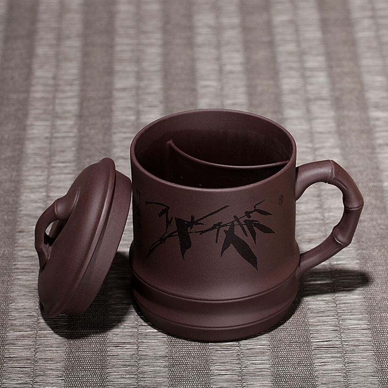 True Art Yixing purple sand cup pure handmade tea set filter carved bamboo cover cup make large tea cup compartment high-lift cup