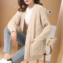 2021 autumn and winter New sweater cardigan thick long coat womens knitted cardigan outside loose solid color lazy