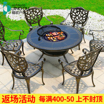 Outdoor Villa courtyard garden terrace charcoal barbecue tables and chairs combination outdoor leisure electric barbecue table cast aluminum tables and chairs