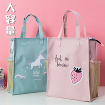 Hand-carrying book bag document bag handbag canvas primary school students with art remedial remedial class bag middle school students cute Korean version of literary children large-capacity boys and girls simple book collection bag