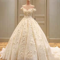 One word shoulder long trailing champagne lace Princess Palace wedding dress
