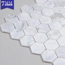 Blanc hexagonal marbre mosaïque carrelage fond mur salle de bains salle de bains pierre carrelage stickers muraux