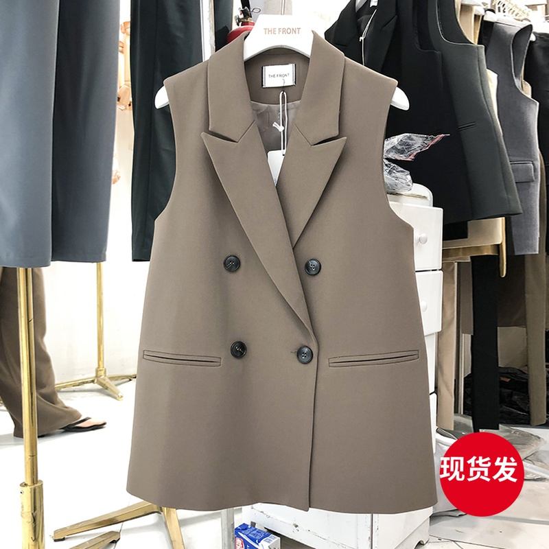 thefront suit black vest female spring and autumn thin casual 2021 new temperament horse clip suit worn outside