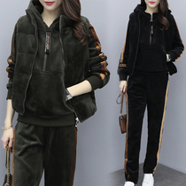 2020 winter new gold velvet plus plus thick thin size leisure sports suit three-piece set of age-reducing womens wear