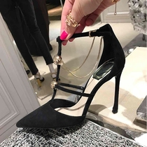 Black high-heeled shoes female 2020 New Black Joker fine with sexy Fairy Wind Baotou pointed sandals female 8cm