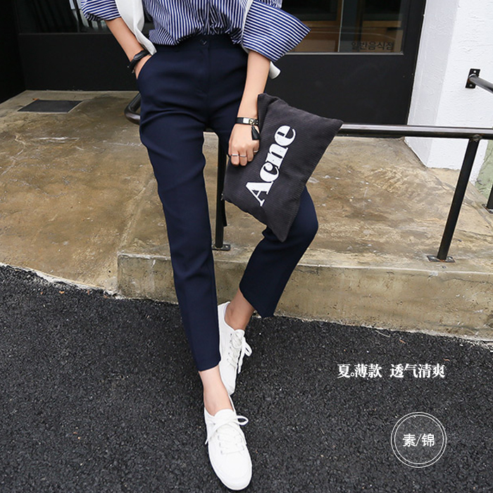 Spring and summer Tibetan work pants suit pants womens small feet nine deep blue casual pants trousers