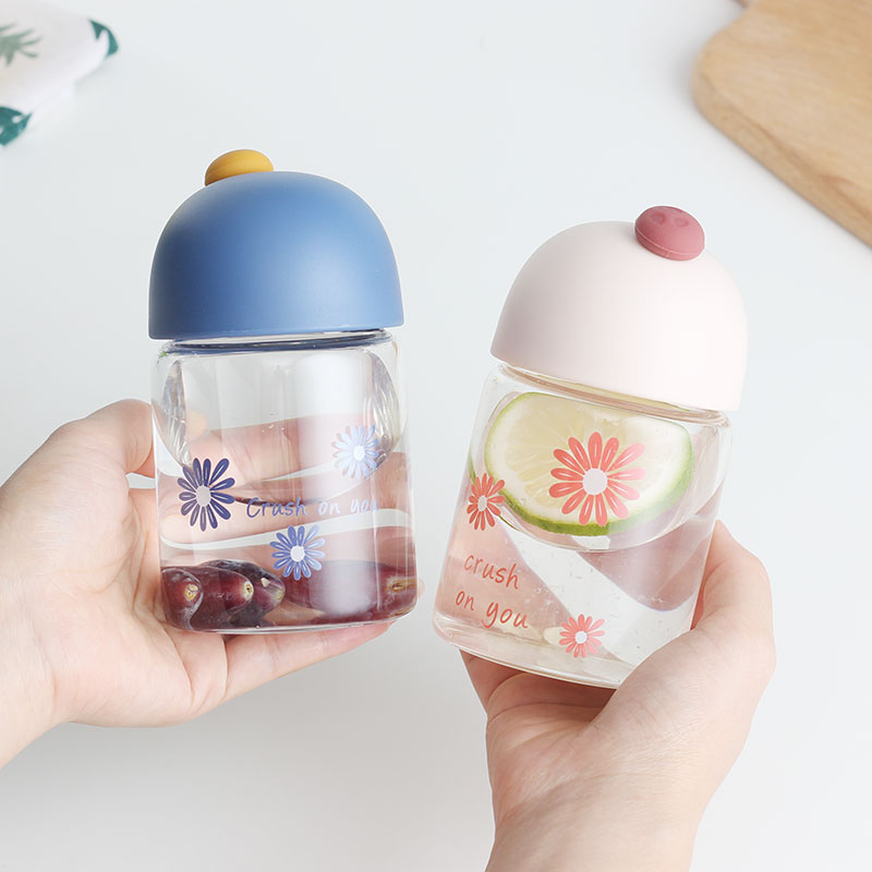 Daisy transparent glass small mini portable schoolgirl heat-resistant cup ins Korean version cute small water cup