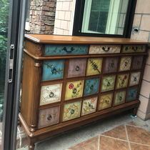 American shoe cabinet Balcony Solid wood home painted storage door Large capacity multi-layer storage European entrance cabinet against the wall