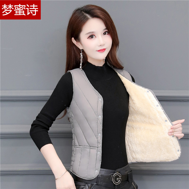 2020 new autumn and winter down cotton vest women light warm vest short V collar shoulder trim close to the inner gut