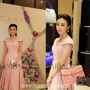 The high-end custom Lan Qin with pink V neck collar Pleated Dress Dress Bridesmaid put birthday suit