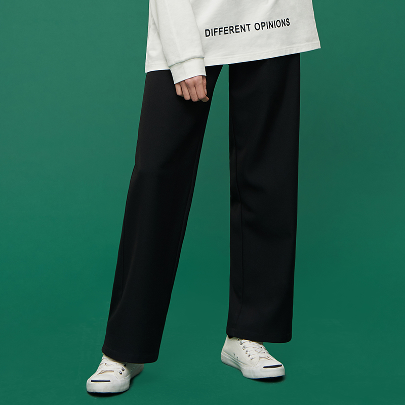 It is advisable to tie pants womens spring Korean version of high-waisted straight pants loose-fitting wide-legged pants suit pants black casual trousers